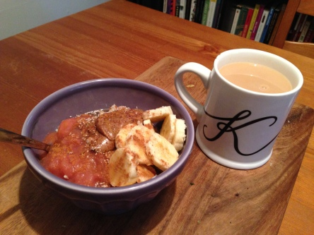 A standard pre-run breakfast - oatmeal with apple sauce, almond butter and bananas