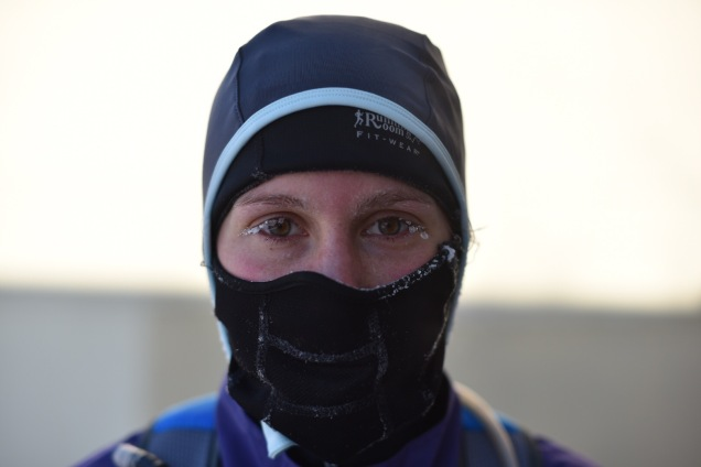 cold running gear with icicles on eyes